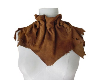 Sale SUEDE LEATHER SCARF Ruff Suede triangle scarf , Distressed leather scarf , Rustic ruff leather scarf brown acorn rust