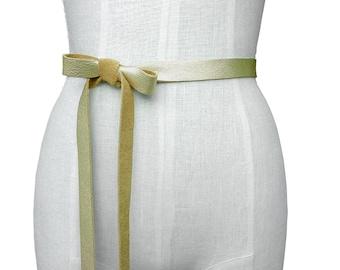 Leather Ribbon Belt Leather Bow Belt Leather Tie On Belt Wedding Dress Belt Bridesmaid Belts Skinny Leather Belt Gold Leather Strap Belt