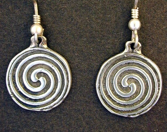 Sterling Silver Celtic Swirl Earrings on Sterling Silver French Wires
