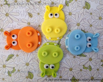 12 VERY HUNGRY HIPPOS. Edible Cupcake Toppers
