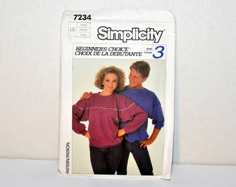 Simplicity Pattern Number 7234  Misses and Mens Pullover Top - 1985 -  Sizes Large
