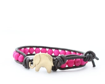 Hot Pink and Gold Lucky Elephant Leather Wrap Bracelet- Natural Stone - the Lucky Elephant Exclusive