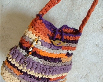 Rag bag - crochet shoulder bag, colorful fabric yarns with pod button and beads.. purple orange tagt team