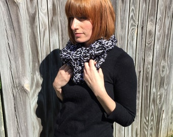 Reversible black and white cowl scarf