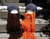 Knitted Viking beard hat, detachable beard, customizable colors