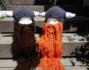 Knitted Viking beard hat, detachable beard, customizable colors