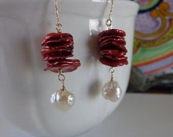 Keishi cranberry pearl peach rosebud druzy pearl earrings gold