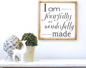 I Am Fearfully and Wonderfully Made, Wood Sign, Nursery Decor, Art for Child Room, Art for Nursery, Rustic Nursery Decor, Rustic Home Decor