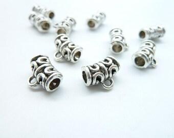 30pcs 9x12mm Antique Silver  Necklace Connectors Pendants Tube Bail Clasps Spacers C6534