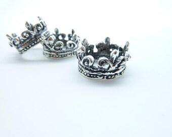15pcs 10x16mm Antique Silver 3D Crown Charm Pendant C7908