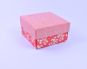 Coral Red Vintage Square Wedding Favor Box- Also ideal as a Bridesmaids favor, Hen party favor,Packaging, Jewelry box