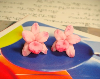 Sweet Light Pink Orchid Post / Stud Earrings (E44)