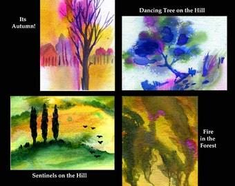 ACEO Tree Set of 4 Prints on Iridescent Paper Set of 4 Trees Colorful Tree ACEO Set Iridescent Tree Prints Set of 4 Miniature Tree Art ACEOs