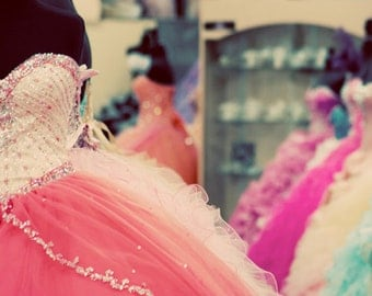 Dresses, Colorful, Photograph, Soft, Pink, Peach, Blue, Pastel, Quinceanera Dresses, Store Window, Square