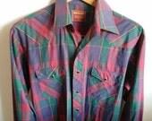 On Sale Vintage/ Rustler/ Red/ Western/ Cowboy/ Men's/ Shirt Vintage Fashion/Marsala MEDIUM