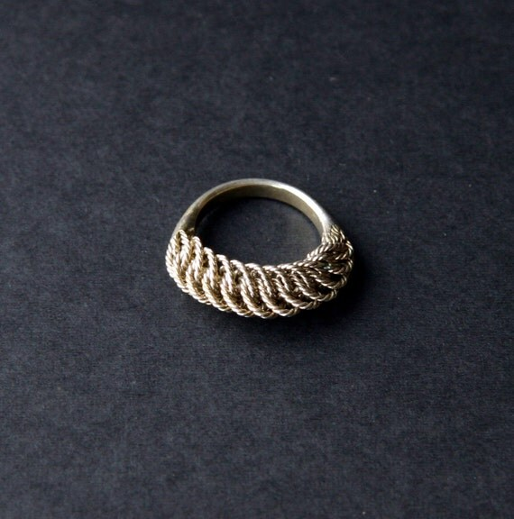 vintage silver braided ring band viking tribal baltic by