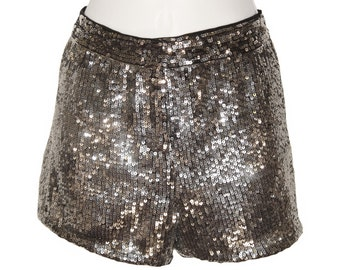 Vintage Silver Sequin Shorts, Hot Pants