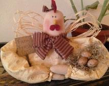 MATGOFG, Handmade, Primitive, Chicken, Shelf Sitter, Home Decor