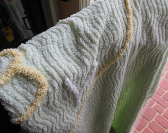Chenille Baby Blanket 1950s, Mint Green, Yellow & White