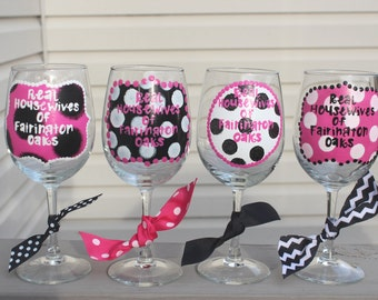 Real housewives wine, fun wine glasses, friend wine glass, hand painted, polka dot wine glass, stay at home mom, personalized wine glass,