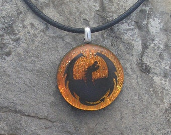 Dragon Necklace Dichroic Glass Dragon Pendant