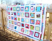 Handmade Lap Quilt, Throw Blanket, Modern Patchwork, Professionally Quilted - Just Wing It Moda