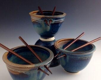 Set of 4 Rice / Noodle bowls - Blue