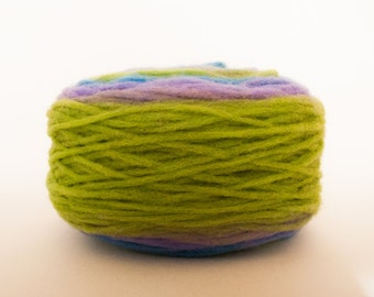 Thin Wool Bulky Pencil Roving, Spinning or Felting Fiber, Bright Green, Blue and Lilac