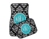 Personalized Car Mats, Monogram Damask Car Mats, Personalized Floor Mats, Choice of Front or Rear Car mats