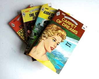 Four Vintage 1970s Harlequin Romance Novels.