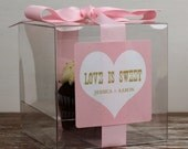 8 - Personalized Cupcake Boxes - Love is Sweet Design - ANY COLOR - wedding favors, bridal shower favors, wedding cupcake box, clear cupcake