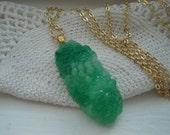 Vintage Carved Green Jade Glass Japan Flower Floral Pendant Forest Woodland Necklace