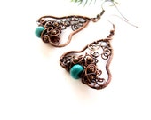 Turquoise Boho Earrings, Retro Floral Blue Turquoise Earrings, Turquoise Jewelry