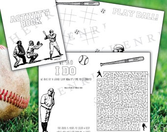 Baseball Activity Book for Wedding - Baseball card - digital file - printable