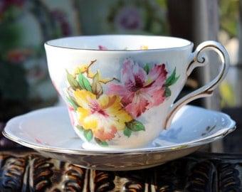 Vintage Teacup, Tea Cup and Saucer - Royal Standard Azalea -  Footed Set 11868