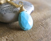 SALE!  Sleeping Beauty Turquoise Necklace, Yellow Gold - 20% OFF