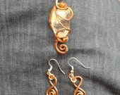 Copper jewlery set. Quartz point necklace and matching copper earrings. Ooak.