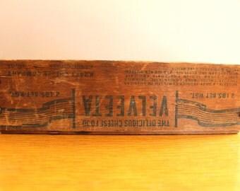 Cheese.... Vintage Velveeta Cheese Box, Rustic Box, Home Decor