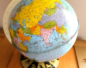 Around the World.. Vintage Metal Astrological Globe, Home Decor