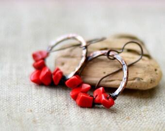 Copper earrings - red coral earrings - artisan earrings - brown hoop earrings - boho handmade jewelry by Alery