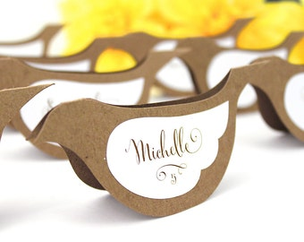 Bird Place Cards, unique wedding escort cards, blank or printed, layered tented name table cards, rustic die-cut dove shape, custom tents