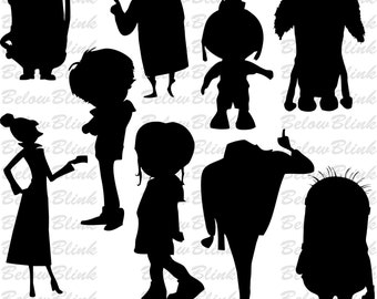 Despicable Me Silhouettes Clipart Clip Art Digital Scrapbooking Commercial Use - printable clipart - Instant Download  - DP350