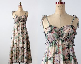 1970s floral sundress, vintage maxi dress