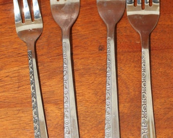 Floral Motif or DANISH MODE Embossed floral Vintage Flatware from stanley RoBERTS with black accent Mid Century modern BIN 17
