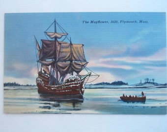 Vintage Linen Postcard Unused form Plymouth Massachusetts of The Mayflower in Harbor 1620