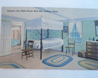 Vintage Linen Postcard Unused from of Bedroom in John Alden House Built 1653 Duxbury Massachusettes