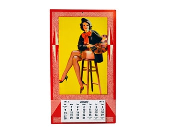 1962 Pin Up Girl Calendar Litho USA Pin Up Girl Artist Painting