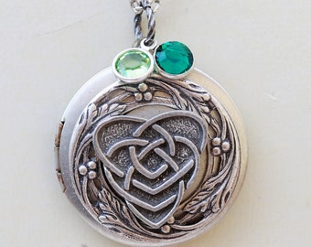 Personalized Heart Irish Locket,Silver Locket,Mother,Celtic Locket,Mothers Knot,Birthstone,Celtic Knot,Shamrock,jewelry gift,Locket,Necklace
