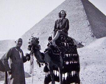 Vintage Pyramid Photo Black and White 1930s Reprint 1990 Cairo Egypt World Tour Photography Woman on Camels Back