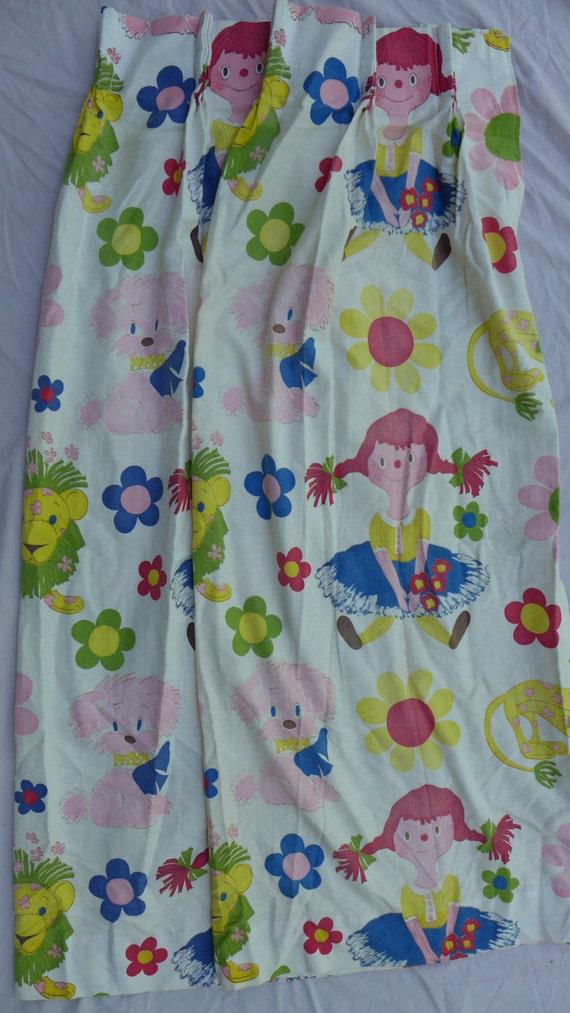 Vintage girls nursery room curtains fabric by for Retro nursery fabric